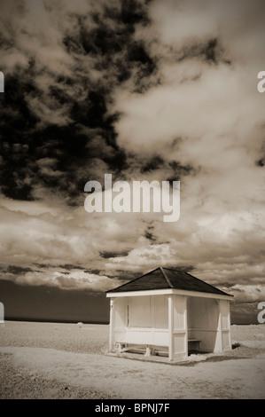 empty hut on shingle beach at aldeburgh suffolk uk - Stock Photo
