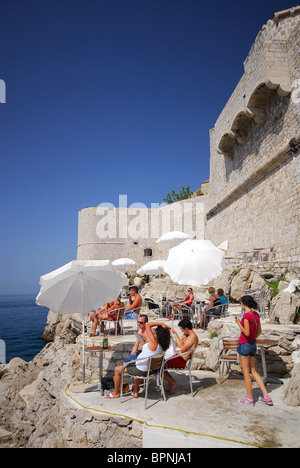 DUBROVNIK, CROATIA. Buza II, a popular bar and swimming area outside the old town walls. 2010. - Stock Photo
