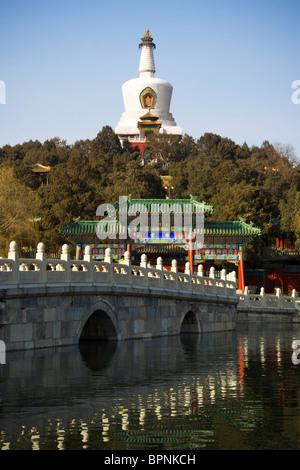 The Bai Ta (White Pagoda) of Beihai Park, Northwest Beijing, China. - Stock Photo