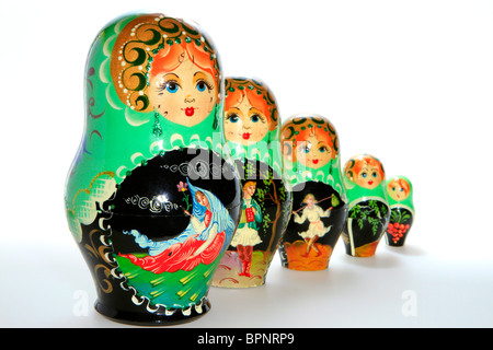 Matryoschkas, Russian dolls - Stock Photo