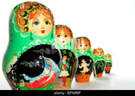 Matryoschkas, Russian dolls - Stock Photo