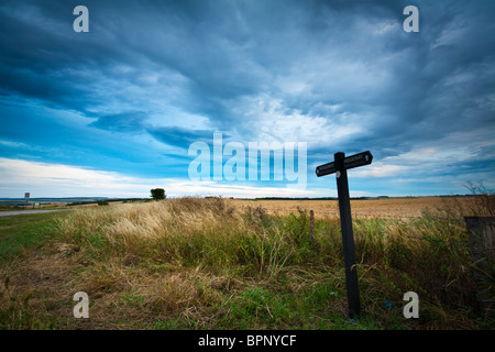 Ridgeway signpost on the downs at West Ilsley on the Oxfordshire and Berkshire border, Uk - Stock Photo
