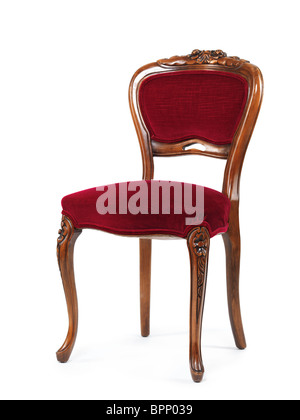 Antique wooden chair with red upholstery isolated on white background - Stock Photo