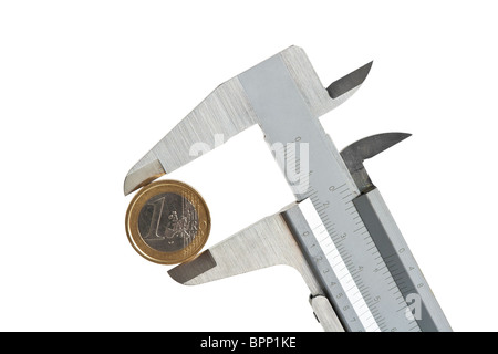 caliper with one euro coin isolated on white background with clipping path - Stock Photo