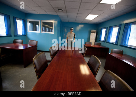 Panmunjom in the Demilitarized zone (DMZ) between South and North Korea. - Stock Photo