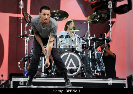 American rock band Linkin Park gives concert in St Petersburg - Stock Photo