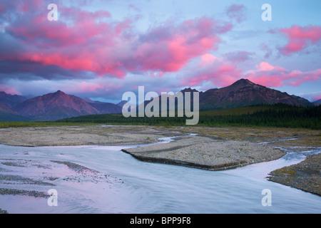 Sunset over the Teklanika River valley, Denali National Park, Alaska. - Stock Photo