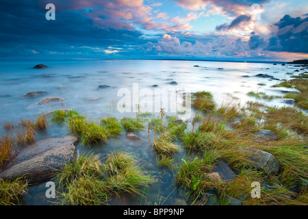 Beautiful evening at the south side of the island Jeløy in Moss kommune, Østfold fylke, Norway. - Stock Photo