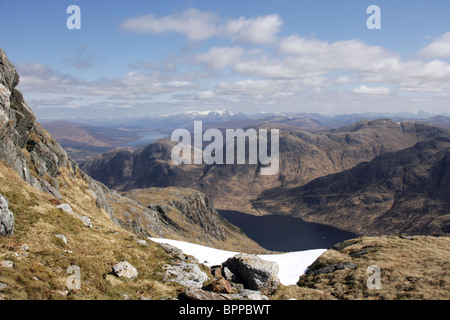 Looking down to Loch Shiel from the ridge between Beinn Odhar Bheag and Beinn Odhar Mhor - Stock Photo
