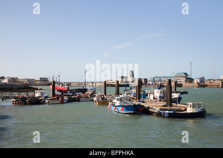 Holyhead, Isle of Anglesey, North Wales, UK, Europe. Small fishing boats in the port - Stock Photo