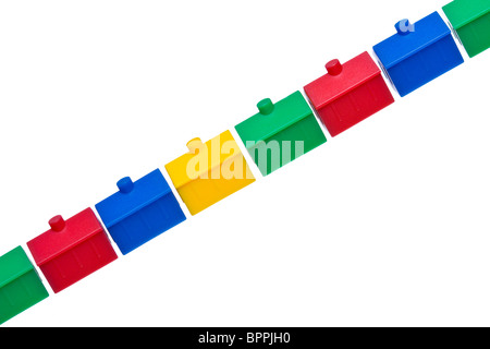 Colorful model houses against white - Stock Photo