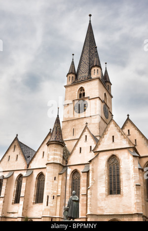 The Evangelical Cathedral in Sibiu city, Romania - Stock Photo