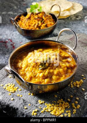 Tarka Dahl curry & rice, Indian food recipe pictures, photos & images - Stock Photo