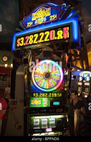 Wheel of fortune gambling slot machine, Las Vegas, Nevada USA - Stock Photo