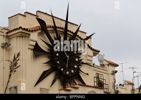 Art Deco clock at Antibes bus station - Stock Photo