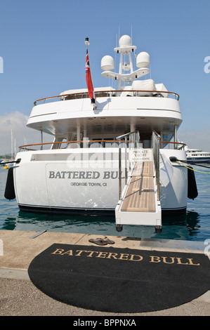 Superyacht Battered Bull moored at the marina in Antibes, France - Stock Photo