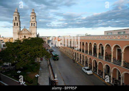 Cathedral on Plaza Principal, Campeche, the Yucatan, Mexico - Stock Photo