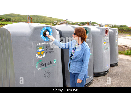 Recycling containers Ireland - Stock Photo