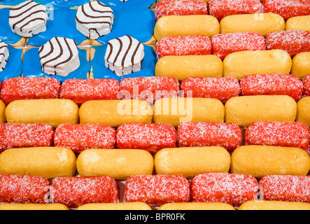 A American Flag made of junk food items including Twinkies, Zingers and Pop Tarts.  - Stock Photo