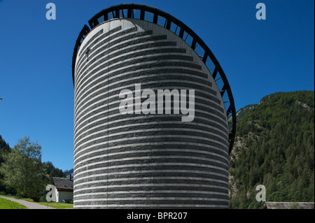 Church designed by star architect Botta in Ticino, Switzerland - Stock Photo