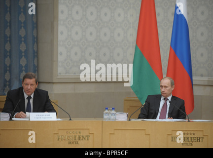 Putin chairs meeting of Council of Ministers of Russian-Belarusian Union State - Stock Photo