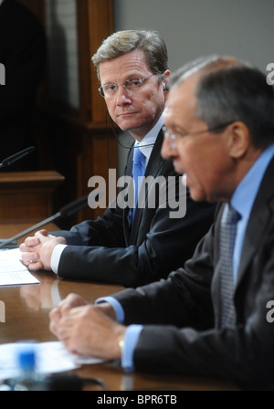 Foreign ministers of Russia and Germany meet for talks - Stock Photo