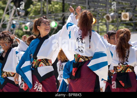 Participants in the annual Nagoya Domatsuri performing on stage, Nagoya City, Aichi, Japan - Stock Photo