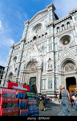 ITALY Tuscany Florence The Neo-Gothic marble west facade of the Cathedral of Santa Maria del Fiore the Duomo with - Stock Photo