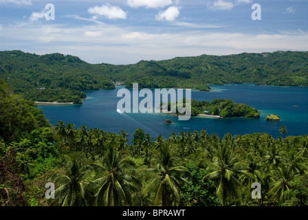 View of Lembeh Strait, Kungkungan Bay Resort, Lembeh Strait, North Sulawesi, Indonesia. - Stock Photo