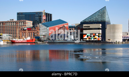 The Inner Harbor in Baltimore, Maryland. - Stock Photo