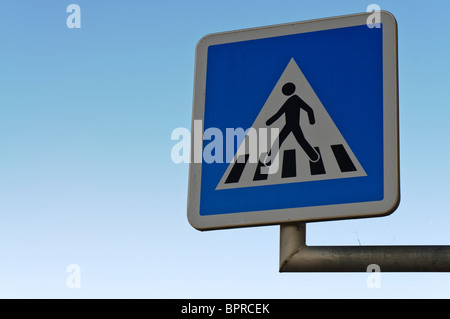 French zebra crossing road sign - Stock Photo