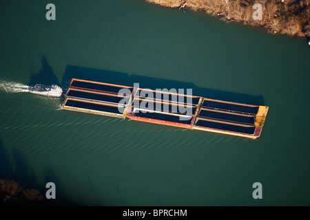 Aerial view of an empty barge on a river. - Stock Photo