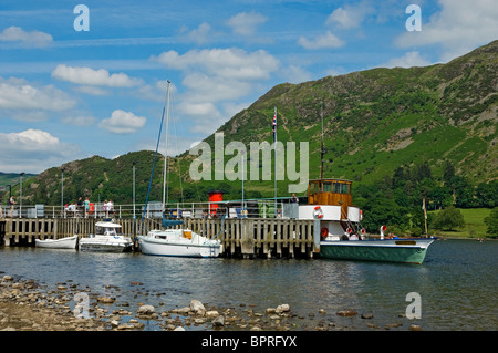 The Steamer Raven moored at Glenridding Pier on Ullswater Cumbria England UK United Kingdom GB Great Britain - Stock Photo