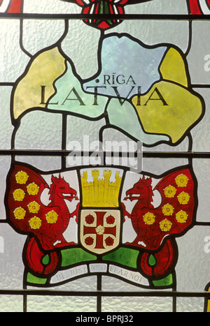 Carlisle, St. Cuthberts Church, map of Latvia stained glass, donated by Latvian refugees Cumbria England UK English - Stock Photo