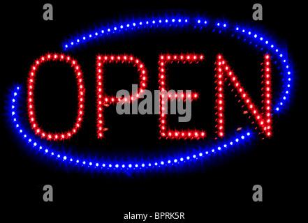Neon Light Open Sign - Stock Photo