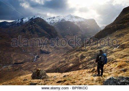 Looking out to Glencoe from the slopes of Stob Mhic Mhartuin, Lochaber, Scotland. - Stock Photo
