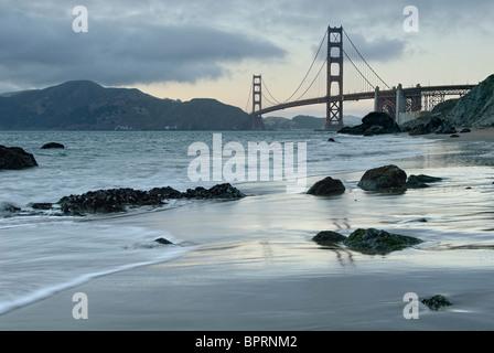 Beautiful view of the Golden Gate bridge from Marshall's Beach. - Stock Photo