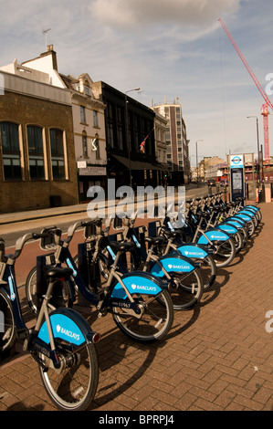 Hourly rental bikes in stand in London.  Mayor Boris Johnson's attempt to fight congestion by making  Londoners - Stock Photo