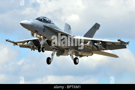 F18, F-18, the Boeing F/A-18E/F Super Hornet multirole fighter aircraft. - Stock Photo