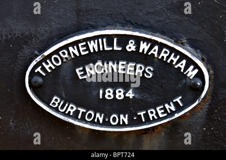 Makers plaque on Andresey Bridge, Burton on Trent, Staffordshire, England, UK - Stock Photo