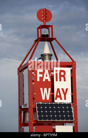 Belfast Fairway maritime navigation buoy at the entrance to Belfast harbour navigation channel in Belfast Lough - Stock Photo