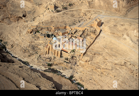 Judean desert, an aerial view of the Greek Orthodox Mar Saba Monastery in Wadi Kidron - Stock Photo