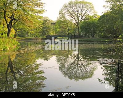 Lullwater Bridge Prospect Park Brooklyn New York USA - Stock Photo