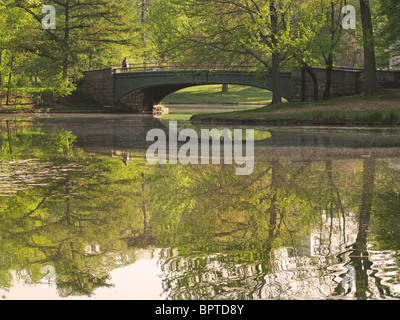 Lullwater Bridge Prospect Park Brooklyn New York - Stock Photo