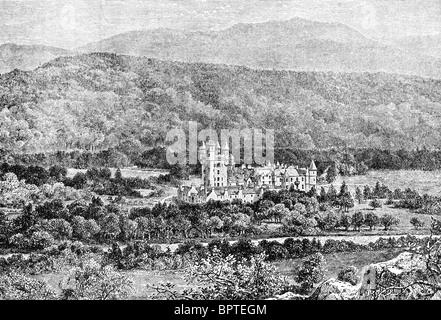 Balmoral, built by Queen Victoria in 1854, is the royal residence of  British royal family in Braemar, Aberdeenshire, - Stock Photo