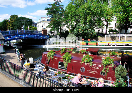 Waterside cafe, Little Venice, Maida Vale, City of Westminster, Greater London, England, United Kingdom - Stock Photo
