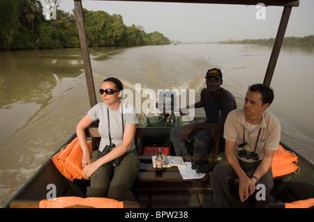 tourist boat on the River Gambia, River Gambia National Park, the Gambia - Stock Photo