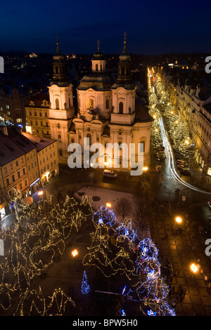 Aerial view from the St. Nicholas Church seen from the astronomical tower on the Old Town Square in Prague, Czech - Stock Photo
