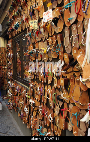 Leather sandals made to measure in Sorrento, Italy - Stock Photo