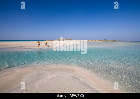 Elafonisi beach famous for pink sand, Crete, Greece - Stock Photo
